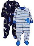 Simple Joys by Carter's Boys' 2-Pack Fleece Footed Sleep and Play, Blue Shark/Dinosaurs, 0-3 Months