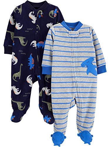 Simple Joys by Carter's Baby-Jungen 2-pack Fleece Footed Sleep and Play Schlafstrampler, Blauer Hai / Dinosaurier, 0-3 Monate