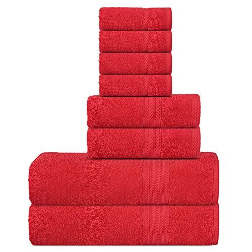 Sweet Needle Supremo Premium 500 gsm - Juego de Toallas de 8 Piezas, roja, 100% algodón, Lavado a máquina, Doble Costura, Dobladillo Fuerte y Altamente Absorbente para baño, (Paquete de 8)
