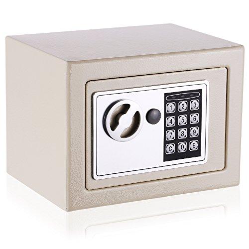KKmoon Elettronica Digitale Cassaforte Sicurezza Blocco Tastiera Contanti Pistola Gioielli per Casa Ufficio Hotel, Colore Bianco