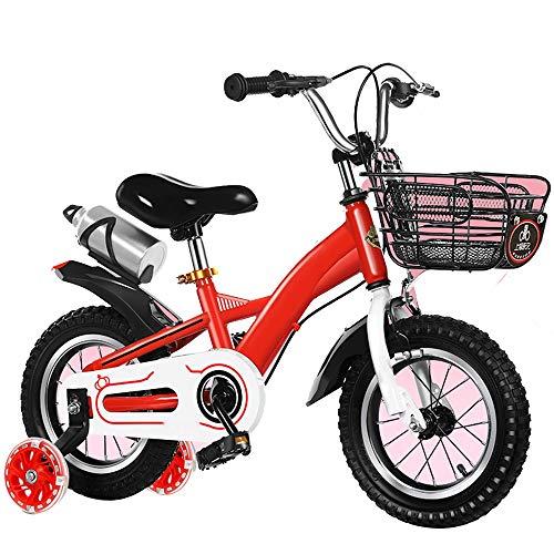 YUMEIGE kinderfiets met trainingsfiets voor meisjes 2-9 jaar kinderen 2 kleuren 12 14 16 18 inch fiets carbon staal (blauw, rood)