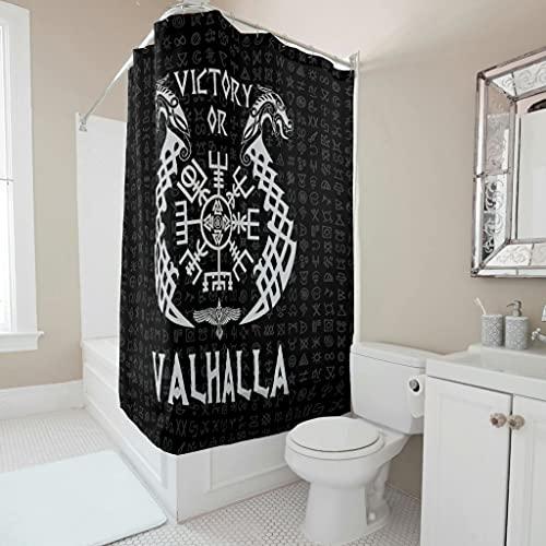 kikomia Waschbar Duschvorhang Wikinger Vegvisir Drachen Raben Knoten Druck Duschvorhänge für Badezimmer Inneneinrichtung white 180x200cm