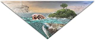 rwwrewre Mascota Perro Gato Pañuelo,Eco-Friendly Tortoise Island Rocks Ocean Mystic Underwater Triangle Pet Scarf Dog Bandana Pet Collars,Soft Head Scarfs Accessories Pet Bib Pet Supplies