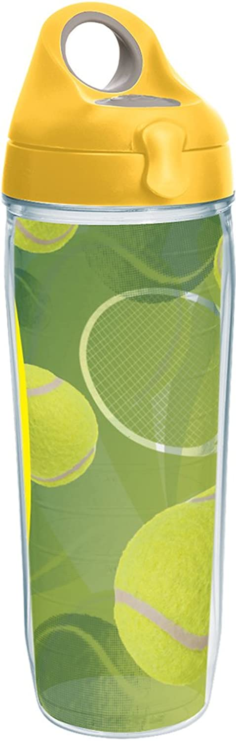 Tervis Tennis Balls Wrap Water Bottle with Yellow Wb Lid, 24oz, Clear