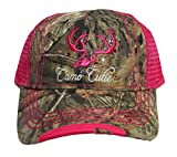 Camo Cutie Hot Pink Cap,Mossy Oak Camo Cap with Hot Pink Mesh Back and Deer Skull Logo