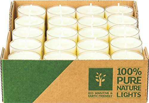 Pure Nature Lights , 40 Stück, Dank der Verwendung von Rapswachs 100% vegan, umweltfreundlich, plastikfreie Verpackung - groß (7 Stunden Brenndauer)