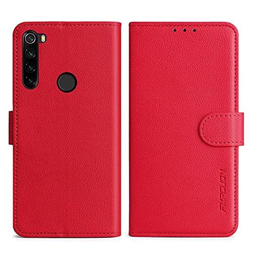 FMPCUON Handyhülle Kompatibel mit Xiaomi Redmi Note 8T Hülle Leder PU Leder Tasche,Flip Hülle Lederhülle Handyhülle Etui Handytasche Schutzhülle für Redmi Note 8T,Rot