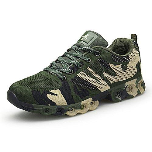 GOMNEAR Zapatillas de Deporte para Hombre Zapatillas de Camuflaje Transpirable al Aire Libre Antideslizante Ligero Fitness Deportes Calzado para Caminar Green-40