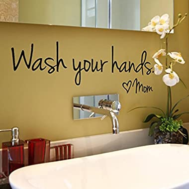 Iuhan Self-adhensive Wash Your Hands Mom Home Decor Wall Sticker Decal Bedroom Vinyl Art Mural