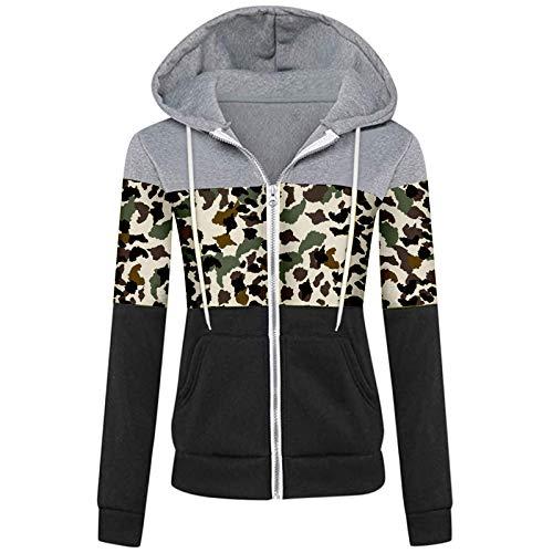 Kenmeko - Sudadera con capucha para mujer, otoño, invierno, informal, deportivo, manga larga con contraste 1verde XL