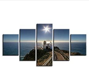 Wangjru Modular Canvas Pictures Hd Print 5 Pieces House Path Seascape Poster Shining Starfish Painting Frames Art Decor Living Room Wall@Yk30X50X2 30X70X2 30X80Cm