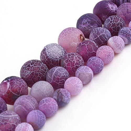 haoyushangmao Ronda púrpura Esmerilado Agrietado del dragón del Fuego Venas Ágata 6 8 10 mm Piedra Floja Natural de Pulsera DIY for la joyería Que hacía 15 Pulgadas (Item Diameter : 10mm)