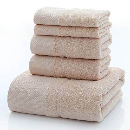 DSJDSFH nieuwe katoenen doek badhanddoek 5-delig pak, geschikt voor de schoonheidssalon thuis, fitnessstudio 35 * 75 * 70 * 140 cm, comfortabel en duurzaam