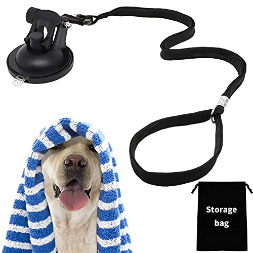 WEYA Dog Bathing Tether with Heavy Suction Cup, Dog Grooming Tub Restraint Soft Nylon Leash with Adjustable Collar for Pet Dog Cat Shower and Grooming