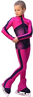 IceDress Figure Skating Outfit - Jump (Fuchsia with Gray-Blue Stripes)