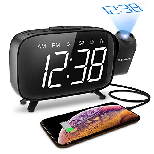 ELEGIANT Projection Alarm Clock, FM Radio Alarm Clock, 6.0'' LED Curved-Screen Display with Dimmer...