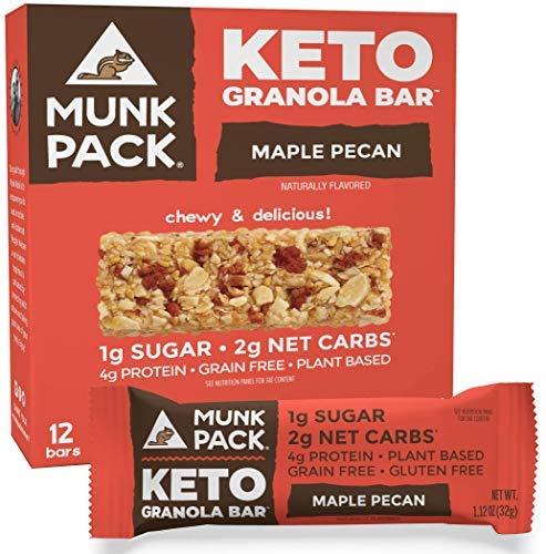 Munk Pack Keto Granola Bar, 1g Sugar, 2g Net Carbs, Keto Snacks, Chewy & Grain Free, Plant Based, Paleo-Friendly, Gluten Free, Soy Free, No Sugar Added (Maple Pecan 12 Pack)