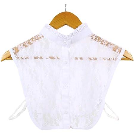 EQLEF Falso Cuello cordón de la Camisa cuellos postizos, Media Camisa de la Blusa de Cuello Falsas Las Mujeres