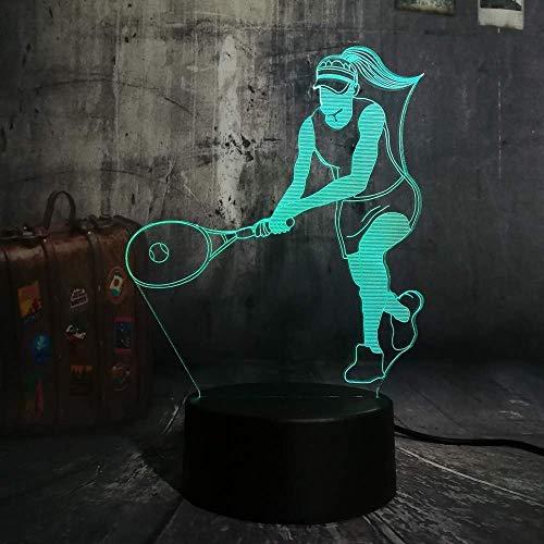 3D Illusion Night Light 7 colores Led Vision Tenis Novedad Deportes Brillo Mesa Decoración para el hogar Niños Niño Hombre Juguetes Colorido Regalo creativo Control remoto