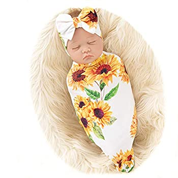 Galabloomer Newborn Sunflower Receiving Blanket Headband Set Baby Flower Rose Swaddle with Big Bow