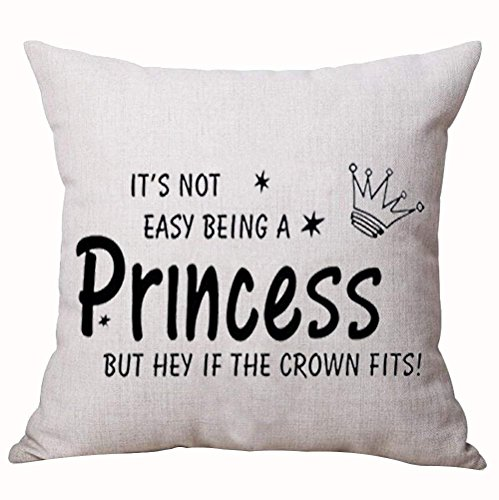 Best Gift Nordic Funny Sweet Inspirational Sayings It's Not Easy Being a Princess But Hey If The Crown Fits Cotton Linen Decorative Home Office Throw Pillow Case Cushion Cover Square 18X18 Inches