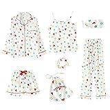 Conjunto De 7 Piezas De Pijamas Elegantes para Mujer para Primavera, Verano Y OtoñO, Pantalones Cortos Estampados, Blusas De Manga Larga, Pantalones De Cintura EláStica, Pijamas Casuales