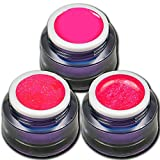 RM Beautynails Premium UV Gel Set Neon Pink Stars je 5ml ein Glitter Gel Glitzerqueen - Glitter Gel Neon - Neon Gel Shock Nageldesign Nailart