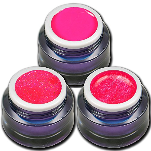 RM Beautynails Premium UV Gel Set Neon Pink Stars je 5ml ein Glitter Gel Glitzerqueen - Glitter Gel Neon - Neon Gel Shock Nageldesign Nailart