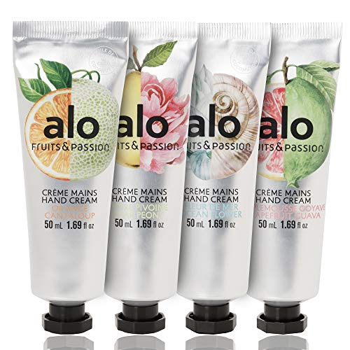 [Fruits and Passion] ALO Hand Cream Four Piece Set - Includes Orange Cantaloupe, Ocean Flower, Grapefruit Guava, Pear Peony Scents