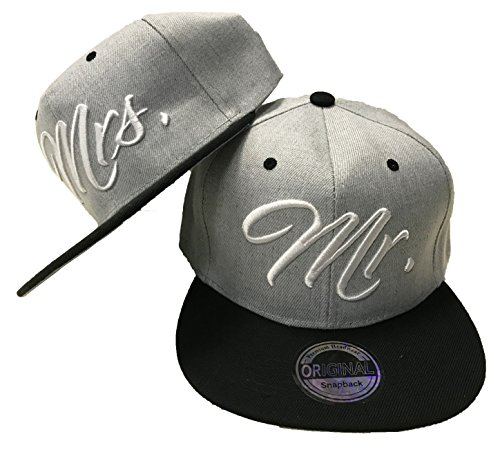 JameStyle26 Mr. & Mrs. Snapback Set USA Cap Kappe Basecap MÜTZE Trucker CAPPY Kult NEU (Mr. Mrs. Set Grau)