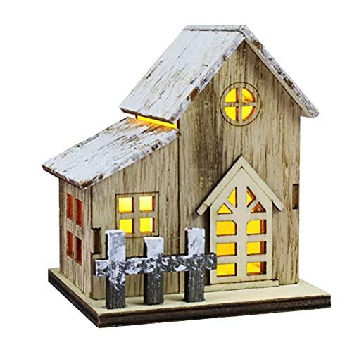 YIPUTONG Casa de Madera LED Decorativa Pueblo navideño Pueblo navideño con iluminación, decoración navideña, decoración de Madera, casa iluminada, decoración de Mesa para oficinas y comercios 🔥