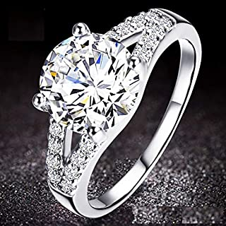 KUYIUIF Cushion 3ct CZ Engagement Rings Double Band Cubic Zirconia Promise Halo Engagement Ring 925 Sterling Silver Solitaire Engagement Ring for Women (9)