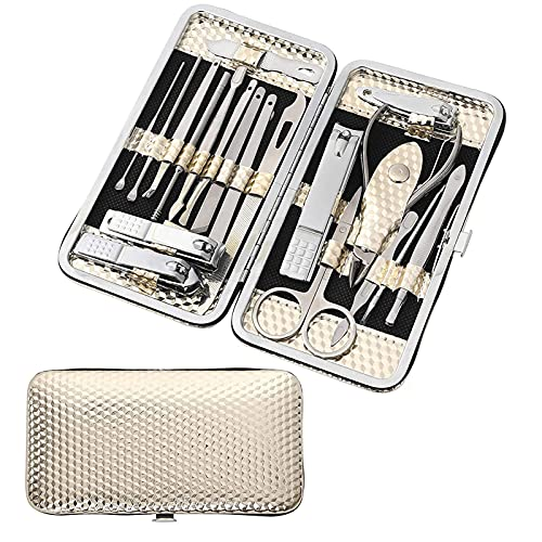 Travel Mini Manicure set Nail Clipper set 19 in 1 Stainless Steel Pedicure Care Grooming kit with Case,Nose,Ear, Fingernail and Toe Cuticle Grooming Care, Professional Nail Kit, Pedicure Tools