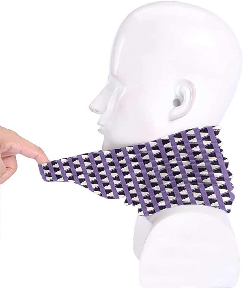 Face Scarf Geometric Headband Neck Gaiter Vivid Half Circles Pattern Vertical Design Geometric Elements Lavander Dark Purple White