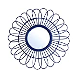 Black Velvet Studio Espejo de Pared Decorativo Redondo Kahala, ratán Natural, Estilo nórdico, Bonito y Moderno, Ligero, ratán, Color Azul, Medida Exterior del Espejo 50x50x3 cm.