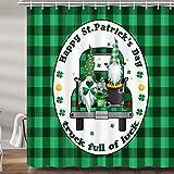 St. Patrick's Day Zwergen-Duschvorhang für Badezimmer, süßer Elf Grün Büffel Karo Karo LKW Urlaub Stoff Duschvorhänge Set, Badezimmer-Zubehör Dekor, Haken enthalten 182,9 x 182,9 cm