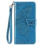 CaseHQ Compatible with iPhone 12 Pro Max Case 6.7 inch(2020),Wallet Case for Women and Girls,Premium Strap with Card Holder,3D Embossed Butterfly,Pu Leather Flip-Blue