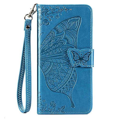 CaseHQ Kompatibel mit iPhone 12 Pro Max Hülle 6,7 Zoll (2020), Brieftaschen-Hülle für Frauen und Mädchen, Premium-Band mit Kartenhalter, 3D-geprägter Schmetterling, PU-Leder Flip Blau