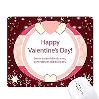ピンクのバレンタインデーハートとバラ オフィス用雪ゴムマウスパッド