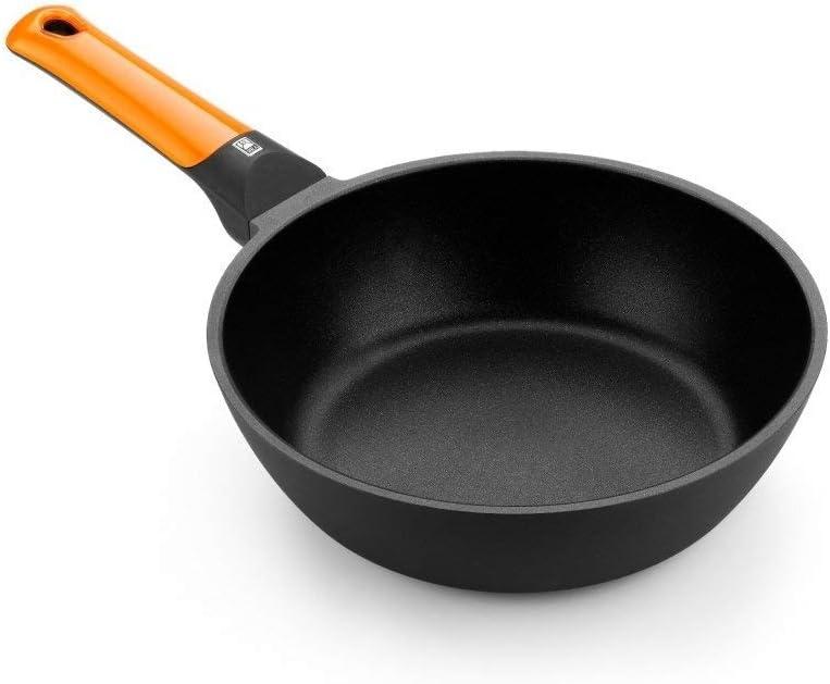 BRA Efficient orange Sartén honda 24 cm, aluminio fundido con antiadherente Platinum Plus, apta para todo tipo de cocinas incluida inducción, libre de PFOA