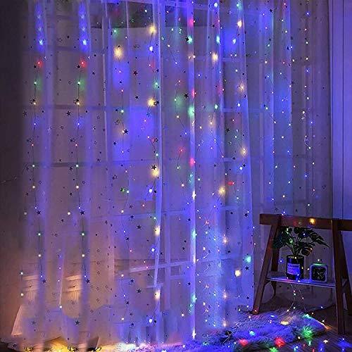 Luces solares para cortinas de 3 x 3 m, 8 modos, luces de cadena de hadas, 300 LED, control remoto, decoración para interiores y exteriores, para ventana, boda, fiesta (colorido)
