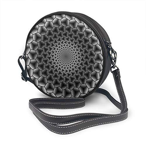 Hexagon Onderdompeling Monochroom Behang Ronde Schoudertas Lederen Messenger Bag Vintage Crossbody Verstelbare Schouderband Voor Vrouwen Gepersonaliseerd
