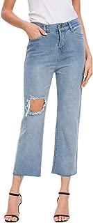 iLOOSKR Fashion Womens Button Pocket Hole Loose Trousers Jeans Casual Denim Wide Leg Pants