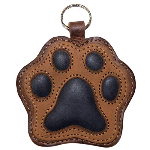 Hide & Drink, Dog Paw Leather Keychain Coin Pouch Key Rings Puppy Doggie Lover Accessories, Handmade :: Multicolor Brown