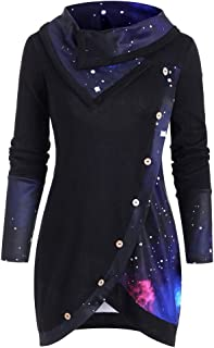 Galaxy Print Panel Mock Button Cowl Neck Sweater