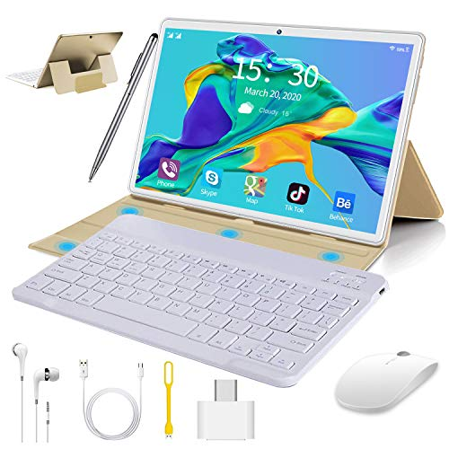 10 inch Tablet with Keyboard Case, Android 9.0 Pie Tablet, 4GB RAM 64GB ROM/128GB Expand, Dual 4G SIM/WiFi Cellular, Quad Core, 8000mAh, 13MP Camera, AM/FM, WiFi, Bluetooth, GPS, OTG(Gold)