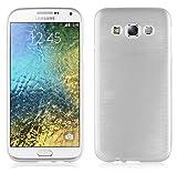 Cadorabo Hülle für Samsung Galaxy E5 2015 (5) - Hülle in Silber – Handyhülle aus TPU Silikon in gebürsteter Edelstahloptik (Brushed) Silikonhülle Schutzhülle Soft Back Cover Hülle Bumper
