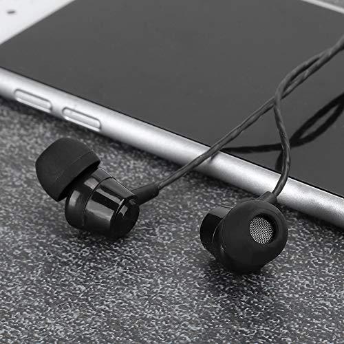 Fone de ouvido musical com fio, fones de ouvido intra-auriculares esportivos pretos, com fio para academia de esportes