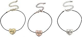 Lux Accessories Long Distance Heart Best Friends Forever BFF Bracelet Set of 3