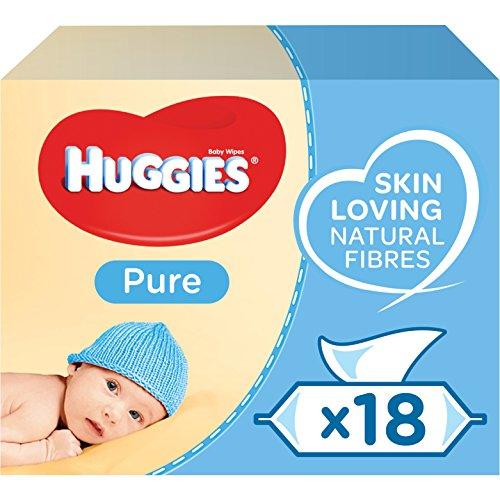 Huggies Pure Baby chusteczki nawilżające w 99% wody, delikatne, 1008 chusteczek nawilżających (18 opakowań x 56 chusteczek)